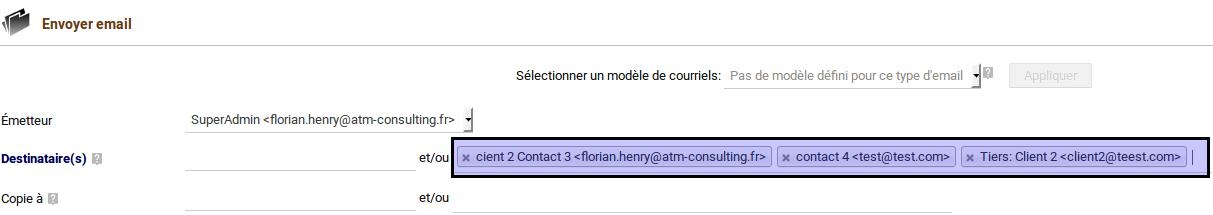Mail avec multi destinataire Dolibarr 6.0