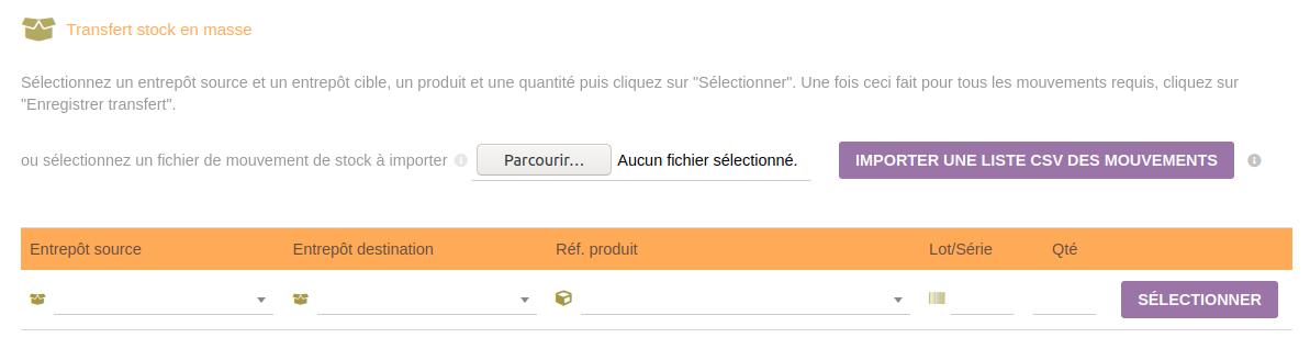 Nouveautés Dolibarr 02-Transfert stock CSV
